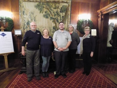 Barker Mansion Top 5 Volunteers 2017. Bruce and Pat Frankinburger, Anthony Holt, Sandy Komasinski, Carolyn Pahs